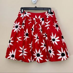 MNG SUIT By MANGO Red Pleated Floral Mini Skirt